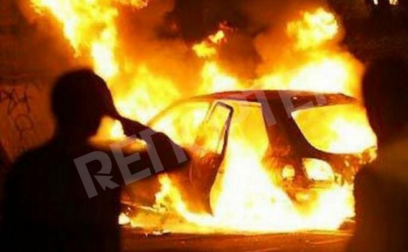 В Кривом Роге машина сгорела вместе с мусоркой